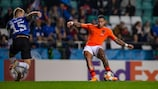 Memphis Depay on the ball for the Netherlands