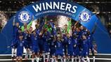Chelsea celebrate their 2021 triumph in Porto