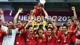 Iker Casillas als Kapitän mit dem Pokal für Spanien
