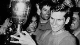 Giacinto Facchetti with the trophy he picked up a week later - after a replay