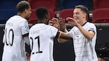 Florian Wirtz (right) celebrates his and Germany's second