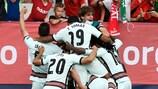 Les Portugais fêtent le but de la qualification