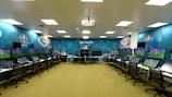 Una Sala VAR en la sede de la UEFA en Nyon