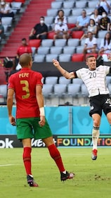 BUDAPEST, HUNGARY - JUNE 19: Nemanja Nikolic of Hungary celebrates with team mates after victory in the UEFA Euro 2020 Championship Group F match between Hungary and France at Puskas Arena on June 19, 2021 in Budapest, Hungary. (Photo by Darko Bandic - Pool/Getty Images)