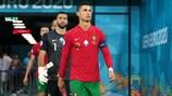 Cristiano Ronaldo a entrar para o seu jogo número 179 por Portugal, contra a Bélgica, no UEFA EURO 2020