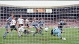 Alan Shearer scores against Germany in the EURO '96 semi-final