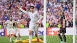 Álvaro Morata festeggia dopo aver segnato il quarto gol della Spagna nel successo 5.3 contro la Croazia agli ottavi di EURO 2020