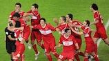 Turkey celebrate their dramatic 2008 defeat of Croatia