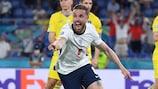 Jordan Henderson reacts to scoring his first England goal