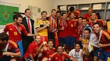 Spain celebrate after the 2012 final with then prime minister Mariano Rajoy and Prince Felipe - Graham Hunter was there too!