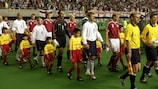 David Beckham leads England out for their 2002 World Cup meeting with Denmark