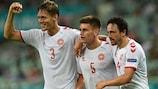 (From left) Denmark's Jannik Vestergaard, Joakim Maehle and  Thomas Delaney celebrate against the Czech Republic