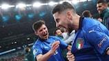 Italy midfielder Jorginho celebrates after scoring the winning penalty at Wembley
