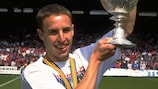 Gareth Southgate holds the English second-tier trophy aloft