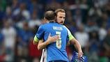 Harry Kane und Giorgio Chiellini vor dem Endspiel der EURO 2020