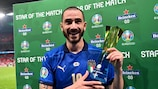 Leonardo Bonucci poses with his Star of the Match award after the UEFA EURO 2020 final