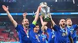 Italy captain Giorgio Chiellini celebrates winning EURO 2020