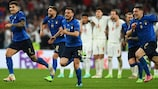 Italy celebrate beating England on penalties in the UEFA EURO 2020 final