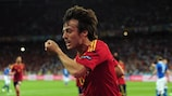 KIEV, UKRAINE - JULY 01:  David Silva of Spain celebrates after scoring the opening goal during the UEFA EURO 2012 final match between Spain and Italy at the Olympic Stadium on July 1, 2012 in Kiev, Ukraine.  (Photo by Shaun Botterill/Getty Images)