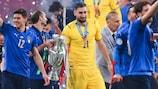 Gianluigi Donnarumma celebrates Italy's UEFA EURO 2020 triumph