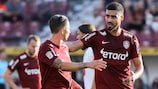 Cluj celebrate one of their goals against Bora Banja Luka