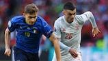 Italy's Nicolò Barella and Spain's Pedri during the sides' UEFA EURO 2020 semi-final meeting