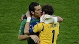 Gianluigi Buffon and Iker Casillas embrace after the UEFA EURO 2012 final