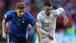Italiens Nicolo Barella im Zweikampf mit Spaniens Pedri im Halbfinale der UEFA EURO 2020