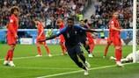 Samuel Umtiti após marcar o golo vitorioso da França frente à Bélgica nas meias-finais do Mundial de 2018