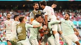 Spain celebrate their fifth goal in the absorbing 5-3 win against Croatia
