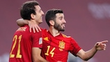 Spain celebrate their sixth goal against Germany in Seville