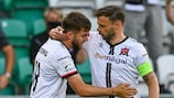22 July 2021; Will Patching of Dundalk celebrates with team-mate Andy Boyle after scoing his side's first goal during the UEFA Europa Conference League second qualifying round first leg match between Dundalk and Levadia at Tallaght Stadium in Dublin. Photo by Eóin Noonan/Sportsfile