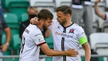 Will Patching e Andy Boyle  (Dundalk) esultano