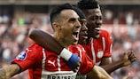 PSV celebrate scoring against Galatasaray