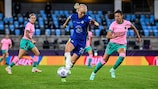 Action from the UEFA Women's Champions League final between Chelsea and Barcelona