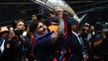 Lionel Messi após o seu último título na UEFA Champions League, em 2015