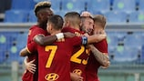 Roma celebrate a  Bryan Cristante goal against Trabzonspor