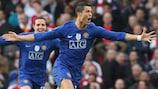 Cristiano Ronaldo celebrates his stunning free-kick against Arsenal in the 2008/09 semi-finals