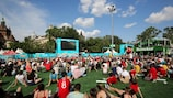 Fans watching the UEFA EURO 2020 group stage match between Hungary and France in Budapest, Hungary.