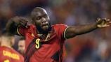Romelu Lukaku after scoring on his 100th appearance for Belgium