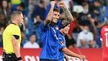Giovanni Di Lorenzo celebrates after scoring Italy's fifth goal
