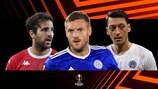 Monaco's Cesc Fàbregas, Leicester's Jamie Vardy and Fenerbahçe's Mesut Özil