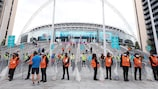 Stewards ready for security checks at the EURO encounter between Italy and Austria at Wembley Stadium
