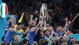 Festa da Itália após se sagrar campeã europeia de selecções em 2021