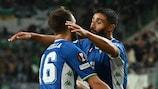 Nabil Fekir (right) celebrates a goal at Ferencváros