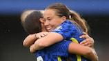 Sam Kerr and Fran Kirby celebrate a Chelsea goal