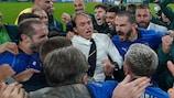 Roberto Mancini celebrates Italy's success against Spain at EURO 2020