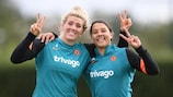 Millie Bright and Sam Kerr of Chelsea in training on Tuesday