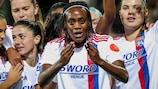 Melvine Malard of Lyon celebrates scoring the first-ever group stage goal