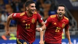 Spain's Ferran Torres celebrates one of his two goals against Italy